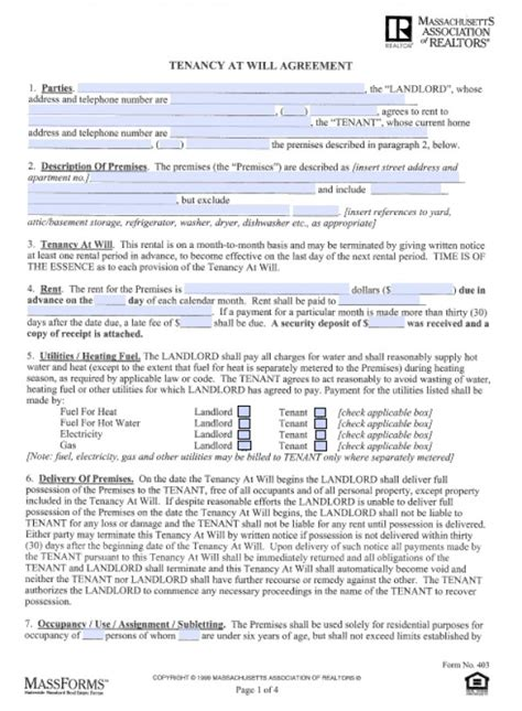 Free Massachusetts Month To Month Tenancy At Will Lease Agreements Pdf Word Doc Massachusetts Rental Lease Template