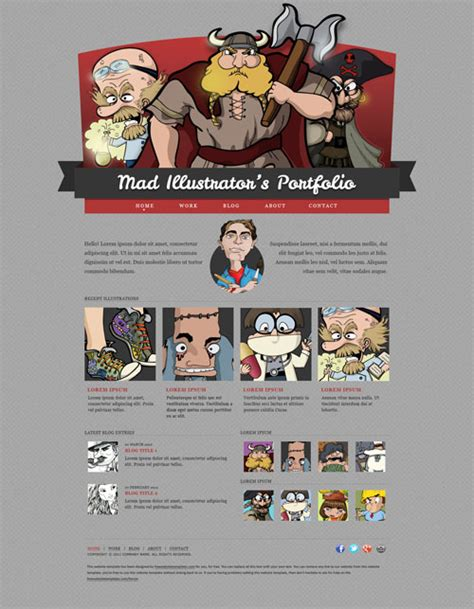 Mad Illustrator S Portfolio Web Template Free Website Templates Illustrator Website Template