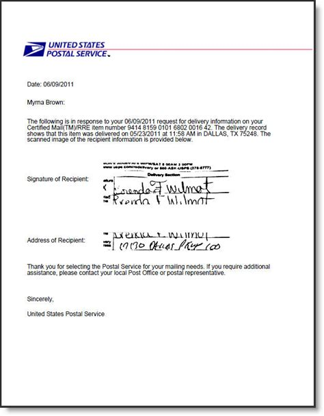 delivery receipt letter template electronic return receipt for usps certified mail