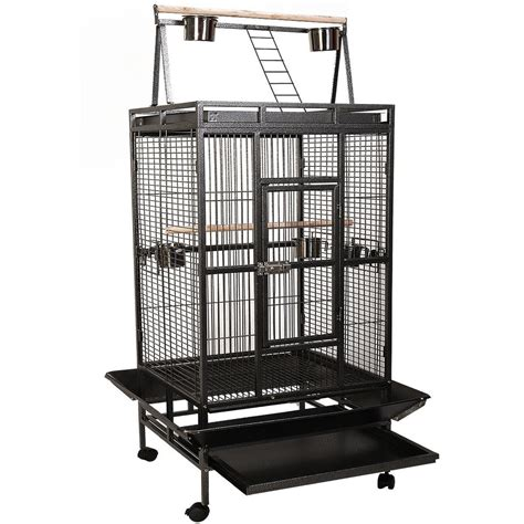 large bird cages giantex bird cage large play top parrot finch cage macaw cockatoo pet supplies black