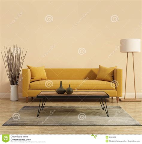 Modern Modern Interior With A Yellow Sofa In The Living Sofa Less Living Room