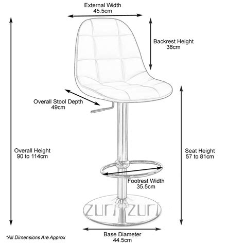 Bar Stool Dimensions Standard | rochelle bar stool