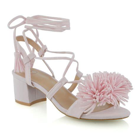 fringe heel sandals womens low block heel fringe strappy lace up tie
