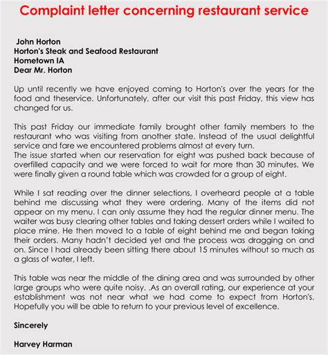 Complaint Letter About Poor Restaurant Service writing a complaint letter for bad product or service