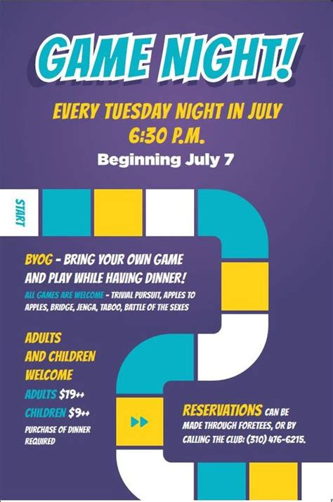 game night flyer poster template family dining and