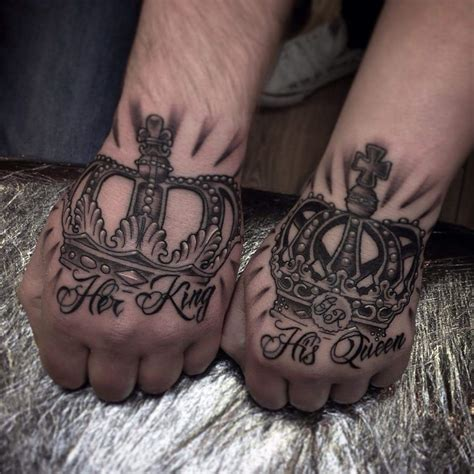 queen tattoo in hand 60 couple tattoos to keep the love forever alive