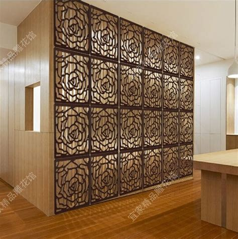 chinese hanging floding screen divider wood carved