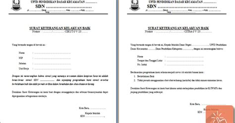contoh surat keterangan kelakuan baik untuk siswa media