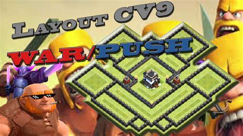 layout cv9 war youtube layout push war cv9 master clash of clans youtube