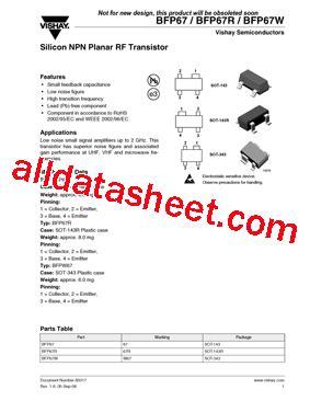 transistor datasheet vishay bfp67r datasheet pdf vishay siliconix