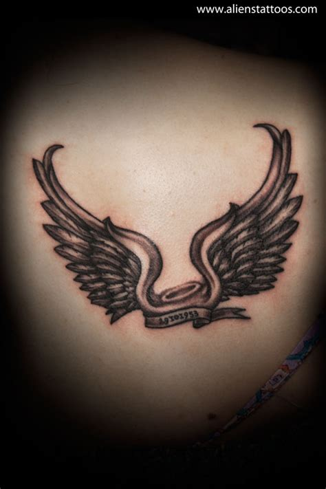 angel wings with halo tattoo designs abstract tattoos archives aliens the best