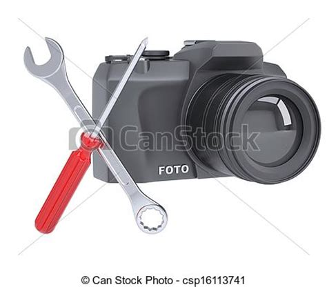 slr camera and tools. slr camera, a screwdriver and a