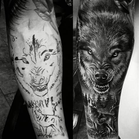 wolf tattoo sleeve tattos pinterest wolves wolf