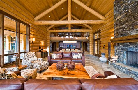 log cabin living rooms ranch log home rustic living room by sitka log homes