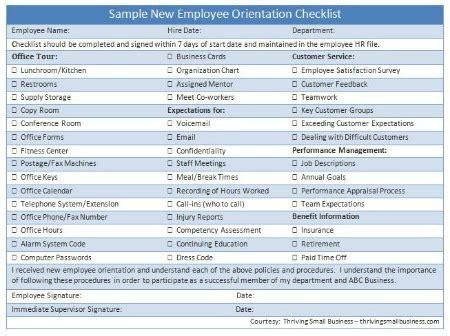 Sle New Employee Orientation Checklist The Thriving Small Business New Employee Orientation Template