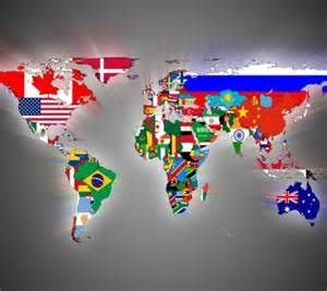 world map with country name and flag to be able to name and locate all the countries on the