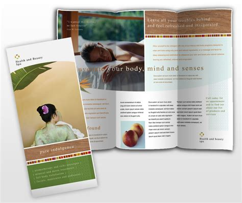 free templates for spa brochures health and beauty spa brochure template dtp ideas