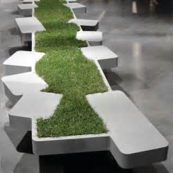 bench seating ideas urban seating unit adorned by miniature grass island saturnia bench