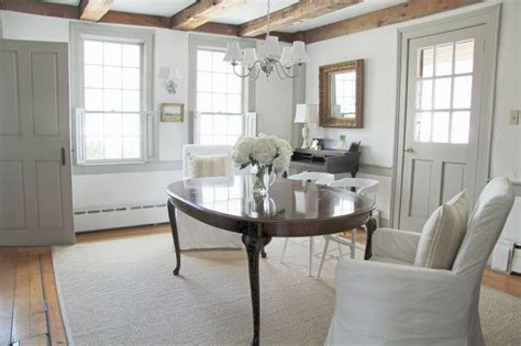 beams painted trim farmhouse country paint colors dining room paint and white