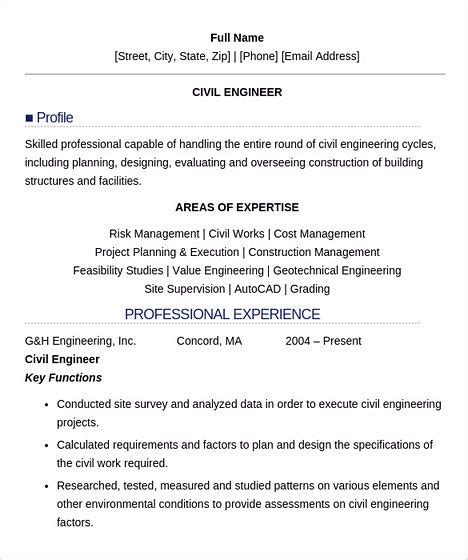 Civil Engineering Resume Model by Some Necessary For Civil Engineering Resume