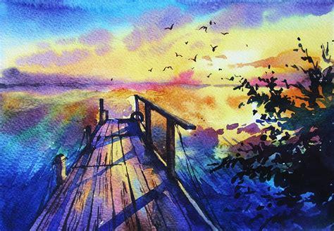watercolor painting quot sunset quot