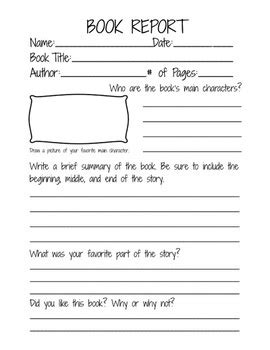book report form for 2nd 3rd and 4th grade students