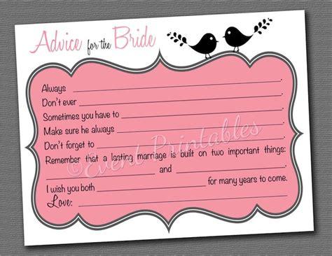 free printable wedding shower advice cards printable bridal shower mad libs lovebird advice for