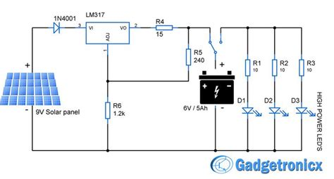 Solar Powered Led Light Circuit Diagram And Schematic Solar Light Schematic