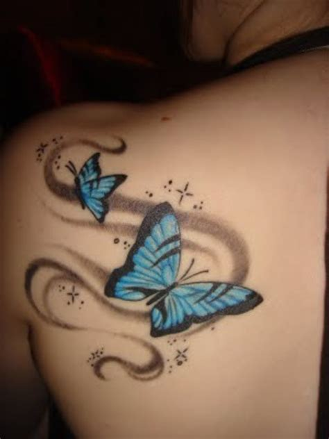 shoulder tattoo blue butterfly tattoo by karatekid89