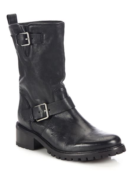 black boots motorcycle lyst cole haan hemlock leather motorcycle boots in black