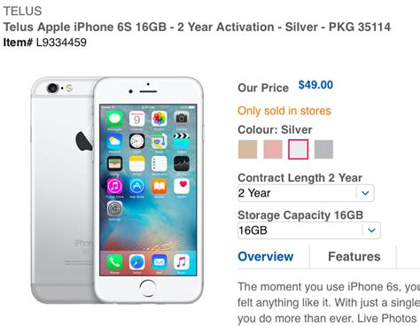 telus iphone 6s sale 49 on contract at drugs iphone in canada