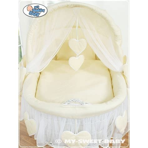 Wicker Basket Crib by Wicker Crib Moses Basket Hearts White