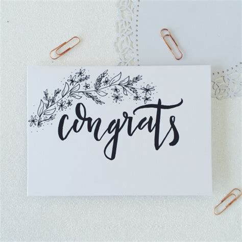 Wedding Card Calligraphy by Congrats Calligraphy Greetings Card Illustrated