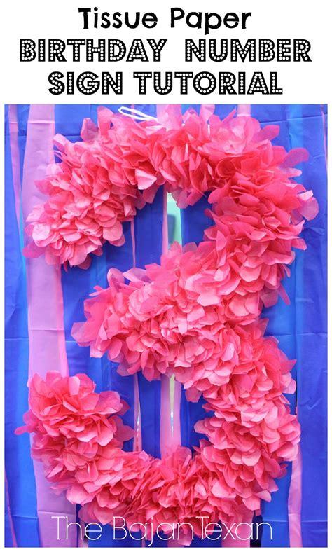 diy decor tissue paper birthday number sign