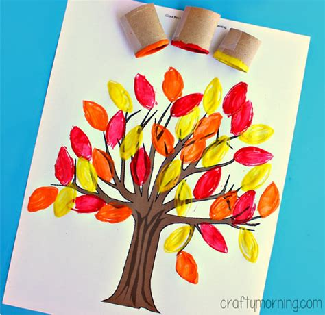 Fall Paper Crafts - toilet paper roll leaf sting fall tree craft crafty