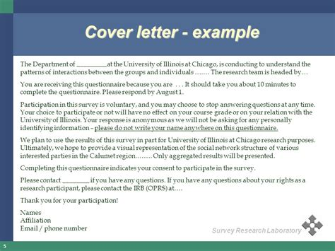Cover Letter Research Questionnaire cover letter for survey questions