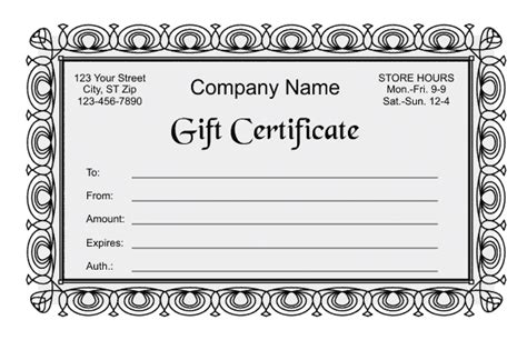 template for coupons the size of gift cards gift certificate template 2