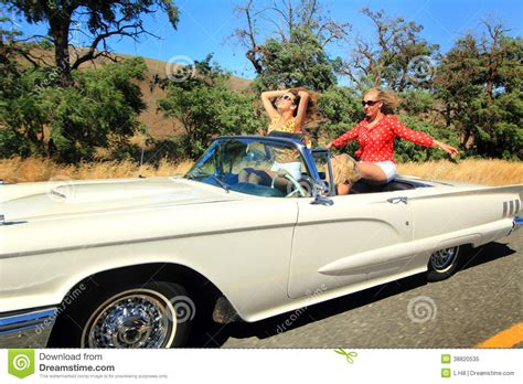 convertible cars for girls girls adventuring out stock photo image 38820535