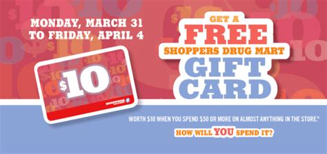 Are Gift Cards Taxable In Canada - shoppers drug mart canada deals free gift card worth 10 on your purchase of 50