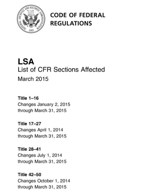 list of cfr sections affected updating regulations u s administrative law research
