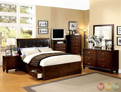 padded headboard bedroom sets enrico iv contemporary brown cherry platform storage