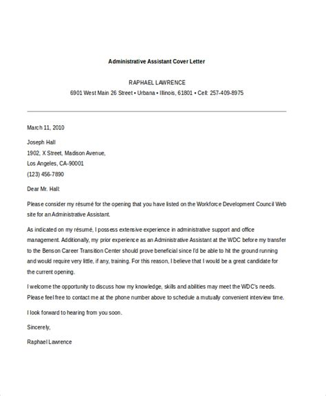 cover letter for admin application sle administrative assistant cover letter 7 free