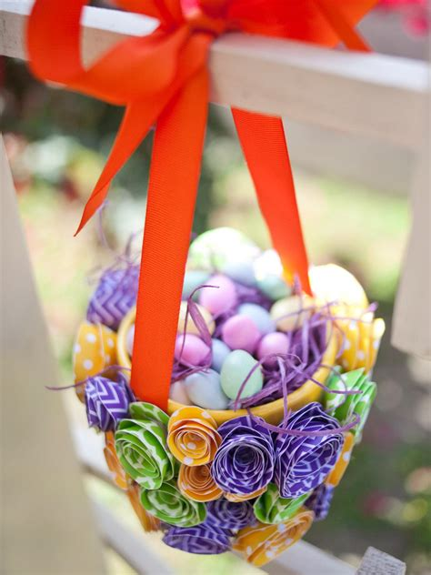 How To Make Flower Basket With Paper - how to make a paper flower easter basket hgtv