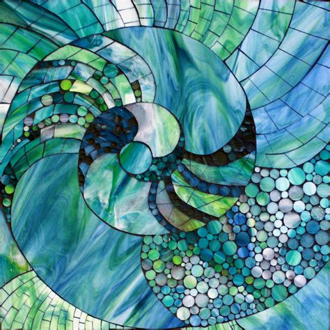 Mosaic Glass L by Kasia Mosaics Nautic Spiral