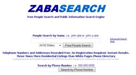 Zaba Search Free Zabasearch A Free Search Engine For In The Usa Asia Bizz