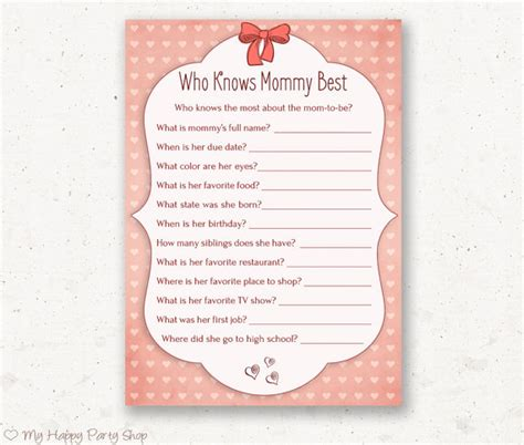 Who Best Baby Shower by Who Knows Best Card Printable Baby Shower