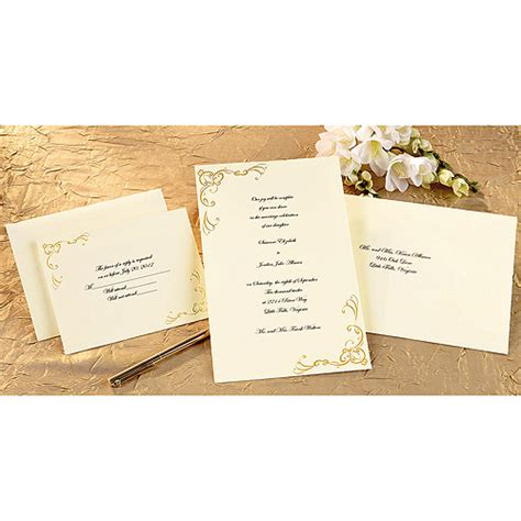 printable invitations at walmart print your own invitations kit scrollwork gold 50 pkg