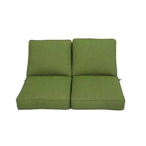 loveseat patio cushions hton bay carol sunbrella spectrum cilantro replacement seating loveseat cushion