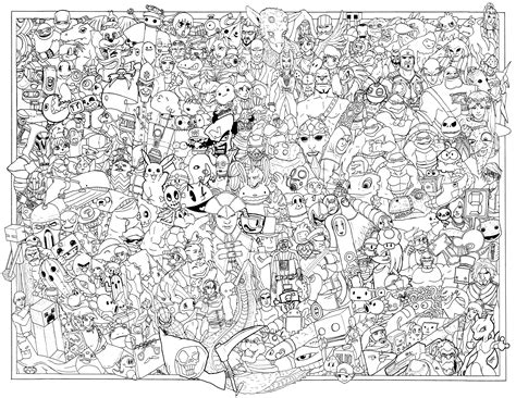 printable coloring poster if you color this in just right a few gaming logos might