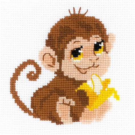 bead monkey monkey counted cross stitch kit 6 quot x6 quot 10 count counted